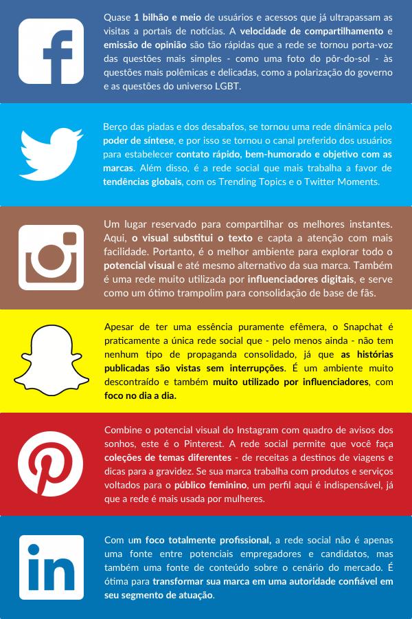 Painel descritivo com as características de cada rede social: Facebook, Twitter, Instagram, Snapchat, Pinterest e LinkedIn