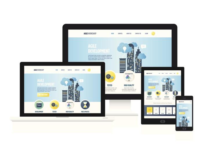 Exemplo de design mobile-friendly em várias telas