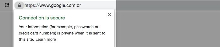 A presença de um certificado SSL pode ser detectada pela barra de endereços do navegador